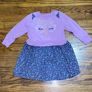 Gap Owl Long Sleeve Dress 3T
